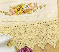 \ PINK ROSE CROCHET /: Barrado Flores em Crochê Filê