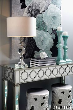 Glamorous entry with a mirrored console table, crystal lamp, and aqua accents. Somebody stole my idea! Foyer Decorating, Interior Decorating, Interior Design, Decorating Ideas, Interior Ideas, Home Living, Living Room Decor, Apartment Living, Luxury Home Accessories