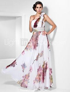 Prom/Formal Evening Dress Sheath/Column One Shoulder Floor-length Chiffon Dress – GBP £ Evening Dresses Online, Chiffon Evening Dresses, Cheap Evening Dresses, Chiffon Gown, Evening Gowns, Prom Dresses, Chiffon Floral, Floral Gown, Prom