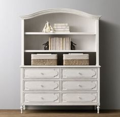 RH baby&child's Bellina Wide Dresser & Bookcase Hutch Set:We took the best features of our favorite French designs from the late 18th century and combined them to create this beautifully balanced composition. Raised molding, rosette carvings and exquisite turned feet add a genteel air.