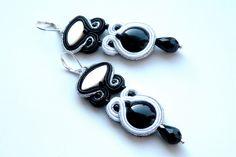 Kolczyki sutasz Black&White+Silver - soutache - Bajobongo - Kolczyki długie