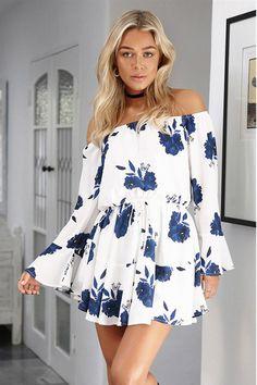Aliexpress.com : Buy ELSVIOS Sexy Off Shoulder Slash Neck Office Dress 2017 Summer Floral Print Beach Dress Casual Flare Sleeve Women Dress Vestidos from Reliable vestido off suppliers on ELSVIOS Online Store