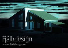 3D modellerad, renderad bild inplacerad i fotografi föreställande nybyggt hus nattetid
