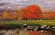 "George Inness, American (1825-1894) Morning, Catskill Valley Oil on canvas 1894 89.9 x 136.5 cm (35¼"" x 53½"")"