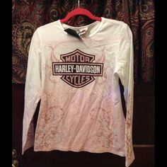 Harley Davidson Breast Cancer Awareness long sleeve shirt. Cotton with Detailing in rhinestones. Harley-Davidson Tops Tees - Long Sleeve