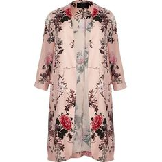Plus collection.  Premium woven fabric.  Pink floral print.  Longline fit.  Long sleeve.  Unfastened front.  Plus Size Guide.