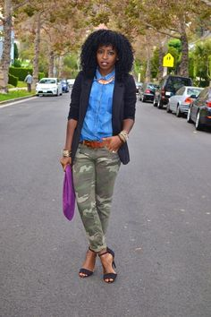 Denim and camo, with a pop of color.....nice!