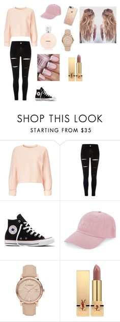 """#Girlyoutfit"" by alondra-lemus909 ❤ liked on Polyvore featuring Miss Selfridge, River Island, Converse, Nasaseasons, Burberry, Yves Saint Laurent and Casetify"