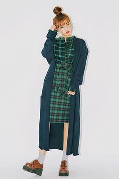 Long Boxy Snap-Buttoned Cardigan