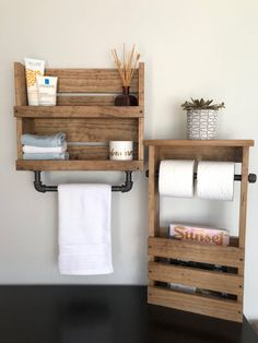 Wood Bathroom Shelf with towel Bar Lovely Bathroom Set Shelf with Pipe towel Bar and toilet Paper and Magazine Holder Rustic Bathroom Storage Industrial Modern Bathroom Decor Store Bathroom Wood Shelves, Small Bathroom Storage, Bathroom Organisation, Bathroom Towels, Bathroom Sets, Kmart Bathroom, Pallet Bathroom, Bathroom Cabinets, Bathroom Faucets