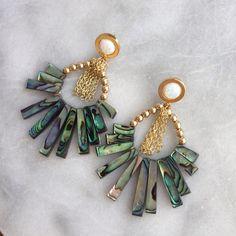 Gold Opal Swing Earrings