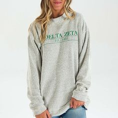 Delta Zeta (DZ) Sorority Sweatshirt Woolly: $65.00. Great Greek Gift. Reverse loop trademark material. Natural Oatmeal Color.