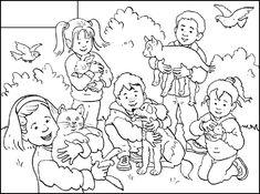 Huisdieren - ruimtebegrippen (middelste, vooraan, achteraan, naast)