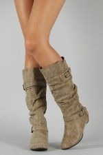 Amar-34 Buckle Slouchy Knee High Wedge Boot