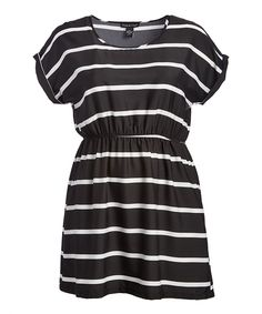 Take a look at this Black & White Stripe Dolman Dress - Plus today!