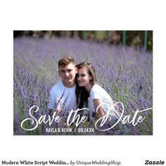 Modern White Script Wedding Save The Date Photo Announcement. Save The Date Photos, Save The Date Postcards, Photo Postcards, Wedding Postcard, Romantic Photos, Bridesmaid Outfit, Modern Wedding Invitations, Wedding Save The Dates, Postcard Size