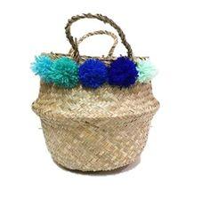 Sea Grass Belly Basket, natural with green & blue Pom Pom  Rice Basket, storage and planter basket