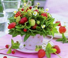 Idea for food or fruit table. Or if homemade strawberry preserves are being given as wedding favors, this could decorate the table with the preserves. Also some red and light green tiny floral arrangement and I would work a couple of the same roses and light green bits of hydrangea into the larger strawberry arrangement.