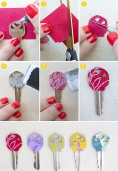 DIY: Personalized Key Covers from Leftover Scrapbook Paper - Totally doing this to my keys Cute Crafts, Crafts To Make, Arts And Crafts, Diy Crafts, Diy Projects To Try, Craft Projects, Craft Ideas, Decoration St Valentin, Mod Podge Crafts