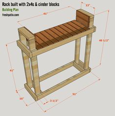 Free Firewood Rack Plan for Half Rick of Wood Built on Cinder Blocks