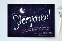 Starry Sleepover Children's Birthday Party Invitations by Keen Peachy at minted.com