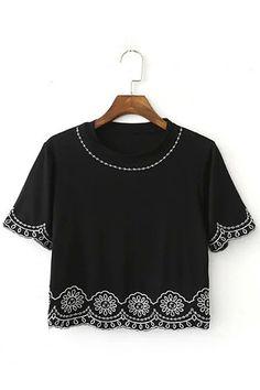 7cd26aec023d Black Embroidery Short Sleeve Cropped T-shirt Short Sleeve Denim Shirt,  Denim Crop Top. Yoins