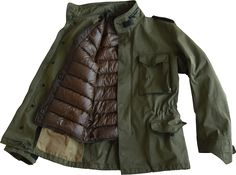 The US Army Field Jacket was first introduced in 1943. It was remodelled in 1951 and this version, with its front zip, press stud closure, drawstring waist and rolled up hood in the collar pocket is c