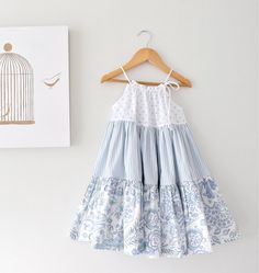 Toddler Girl Patchwork Dress-Powder Blue and White Twirl Dress-Infant Baby Holiday Dress-Handmade Children Clothing by Chasing Mini. on Etsy, $58.13