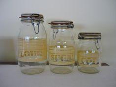 Vintage Glass Canister Set Retro Kitchen Storage Jars by bellaroni, $38.00