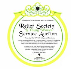 Service auction.  Would be great to include the YW