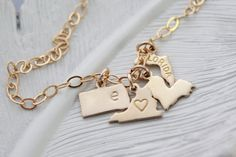 State Charm Bracelet Gold State Charm by PinkingEdgeDesigns