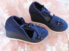 """Купить Летние туфельки на танкетке """"Синий хлопок"""" в интернет магазине на Ярмарке Мастеров"""
