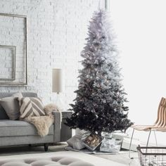 7.5 ft. Vintage Black Ombre Spruce Prelit Christmas Tree - Artificial Christmas Trees at Hayneedle