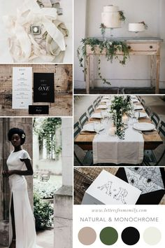 Natural and monochrome Wedding Colour palette for cool brides and boho weddings #bohowedding #weddingcolour #weddingcolourpalette #naturalwedding #minimalistwedding Wedding Color Schemes, Wedding Colors, Wedding Flowers, Wedding Bells, Boho Wedding, Monochrome Weddings, Cozy Aesthetic, Minimal Wedding, Simple Weddings