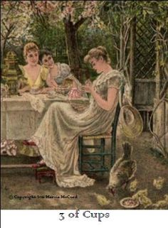 Three of Cups  Upright meaning:   A happy celebration is in the works.         Reversed meaning:   Overindulgence connected with a celebration is shown. Careful not to eat, drink or spend too much.