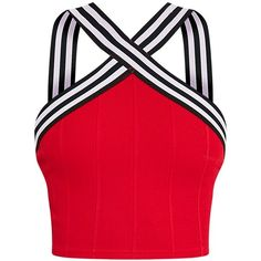 Chantal Red Sporty Bandage Cross Front Crop Top (22 BRL) ❤ liked on Polyvore featuring tops, crop top, shirts, red bandage top, red shirt, cross front top, cross front crop top and sport shirt