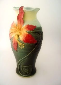 Handmade Stoneware Daylily Pottery Vase - Waukesha Pottery