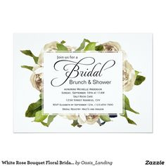 White Rose Bouquet Floral Bridal Shower Card - A lovely versatile choice in bridal shower invitations, this design features a floral bouquet of white roses. Edit the simple design template with your event information. Shown here as a Bridal Brunch and Shower, you can edit the event title to use for a shower, luncheon, or other bridal party event. Sold at Oasis_Landing on Zazzle. #BridalShower #invitations #Zazzle