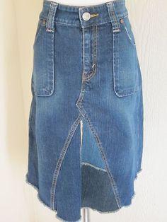 Levi's Jeans Size 14 Blue Denim Stretch Tattered Hem Handkerchief Hem Jean Skirt | eBay