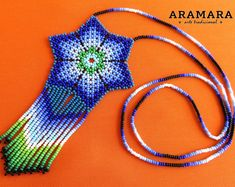 Mexican Jewelry, Huichol necklace, Native american necklace, Mexican Necklace, Flower necklace, Huichol jewelry, Beaded Flower, CFM-0054