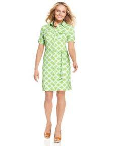 Charter Club Dress, Short-Sleeve Printed Belted Shirtdress - Womens Dresses - Macy's