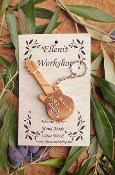Hand carved Greek Olive Wood musical key chain by ellenisworkshop, $30.00