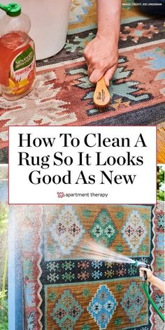 Here's how to clean a rug so that it looks good as new. #rug #rugcleaning #cleaningtips #cleaninghacks #deepclean #howtocleanrug #stainremover #stainremoval #howtoremovestains Diy Home Cleaning, Household Cleaning Tips, House Cleaning Tips, Rug Cleaning, Diy Cleaning Products, Cleaning Solutions, Deep Cleaning, Spring Cleaning, Cleaning Hacks