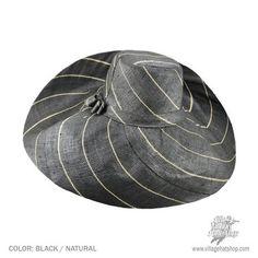 Big Brim Raffia Pinstripe Sun Hat