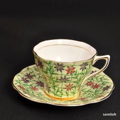 ROSINA CUP & SAUCER 1952-1988 FLORAL Chintz GREEN Latticework YELLOW w/GOLD #RosinaChinaLtd