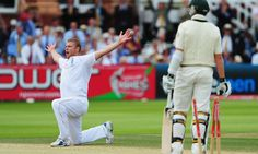 Flintoff milks the crowd's applause after taking his fifth wicket against Australia in 2009.
