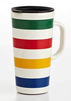 Hudson Bay Ceramic Travel Mug Hudson Bay Blanket, Bay Point, Recycled T Shirts, Native Style, Christmas Wishes, Merry Christmas, Ceramic Cups, Travel Mug, Red And Blue