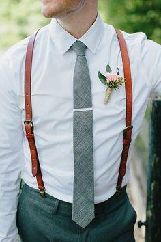 Genuine Leather Suspenders / Groomsmen Wedding Suspenders in Reddish Brown