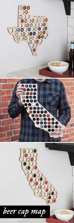 """Beer Cap Trap creates laser-cut wooden wall maps made to display the caps of your favorite local brews. An eye-catching, American-made gift for craft beer lovers and anyone who likes to """"drink local."""" Available in the shape of each U.S. state."""