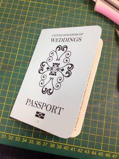 Vintage passport style wedding invitation